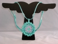Azure Seas Mandallion turquoise and pink crocheted necklace