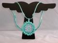 Azure Seas Mandallion turquoise and pink crocheted necklace