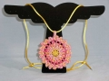 Sunrise Mandallion yellow and pink crocheted necklace