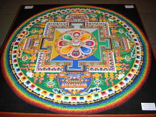 """Chenrezig Sand Mandala"" created at the House of Commons of the United Kingdom on the occasion of the Dalai Lama's visit in May 2008"